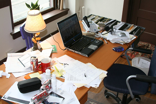 Executive function skills can help organize a messy desk.