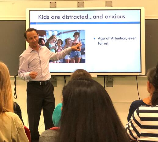 Author Michael Delman presenting at Hoboken High School