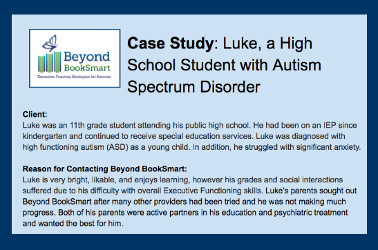 Executive Function Coaching Case Study: Luke - student with ASD