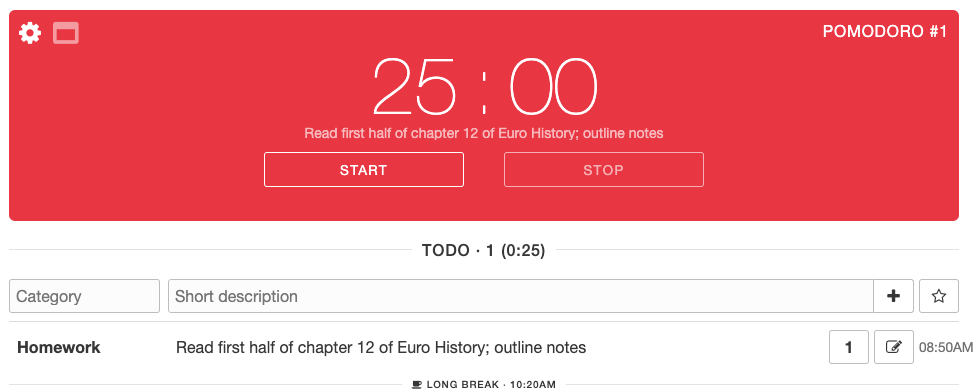 Pomodoro method of Time Management